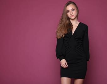 Black Ruched Front Dress Design, Blouson sleeves , Mini Dress With Long Sleeves, Women's Evening Dress