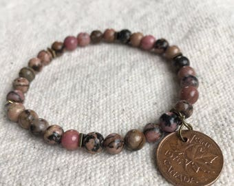 "Lucky Penny Bracelet with Rhodonite Beads ""Lara"""