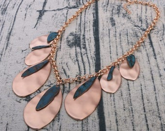 Bronze and Dark Turquoise Necklace