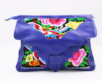 Embroidered Leather Envelope Clutch/Leather Envelope Clutch Bag