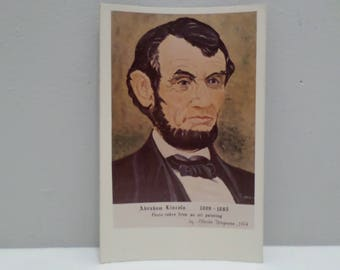 Vintage Postcard President Lincoln Photo Taken from an Oil Painting by Alberta Wagaman 1974