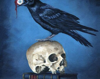 Raven with Skull 8x10 Acrylic Painting