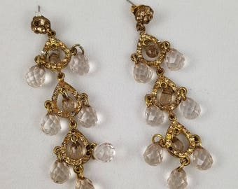 Goldtone and Crystal, Bling & Bauble, Dangle  Earrings
