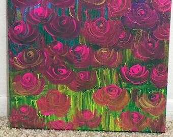 Awesome Rose Falling, Acrylic Canvas Painting