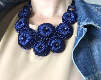 Royal blue necklace,floral bib jewelry,crochet flower necklace,bridal romantic jewelry,Christmas 2018 gift,Swarovski bead embroidery,fabric