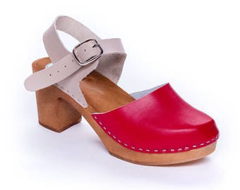 New LEATHER SANDALS high heel shoes platform wood beigie red swedish clogs slippers leather clogs wood wooden clogs platform  sandals