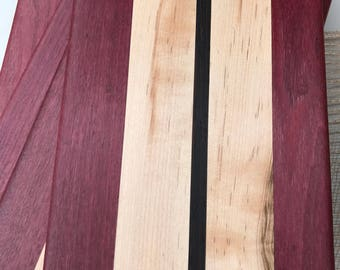 Hand-made sandwich, cheese or charcuterie board, exotic hardwoods wenge, Purple Heartand maple