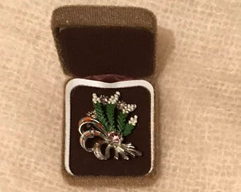 Lucky White Heather Exquisite Brooch