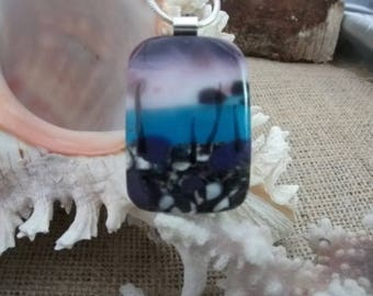 Glass 'landscape' pendant necklace in purple and blue with sterling silver bail