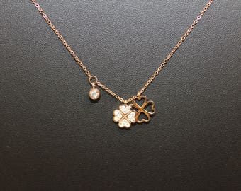 Pink clover stainless steel necklace