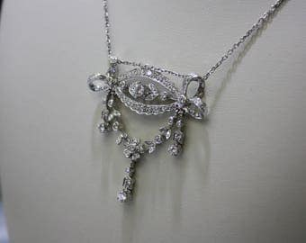 Estate Necklas 14 k white gold diamond , with chain included , 2.3 ct , 10.7 gr.