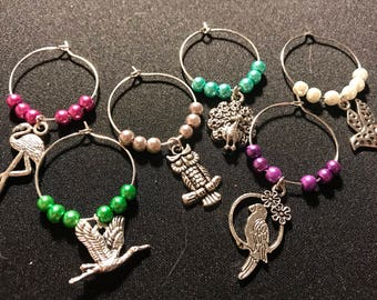 Bird wine glass charms // flamingo, peacock, owl, dove, parrot and swan wine charms