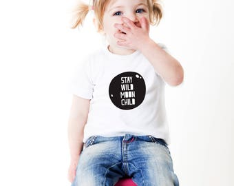 moon child, stay wild, unisex tshirt, nordic child, scandi kids, scandi child, nordic kid