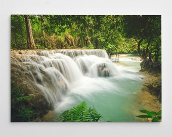Laos Waterfall Canvas Print // Large Canvas Wrap, Nature Photography, Asia Decor Wall Art, Fine Art Photo, Kuang Si Falls Office Decor