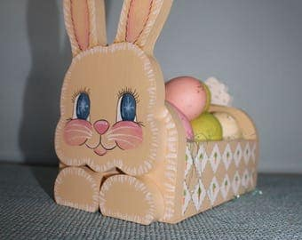 Cute Wooden Bunny Easter Basket