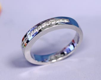 Free Shipping to the U.S. and Canada - Half Eternity Channel Set Diamond Wedding Band in 14K White Gold