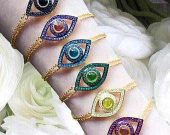 Evil Eye Bracelet | Sterling Silver Evil Eye Bracelet | Evil Eye Chain Bracelet