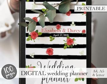 Wedding planning book, Wedding planner printable, Wedding binder, Printable wedding planner, Engagement gift, PDF download, Bridal gift idea