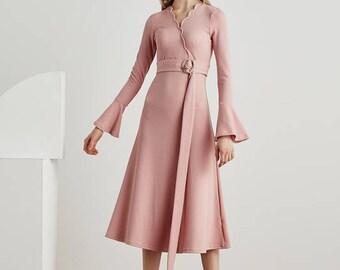 Casual long sleeve dress/volant Dress