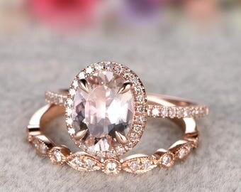 Solid 14k Gold Ring, 7x9mm Morganite Engagement ring set Rose gold,Diamond wedding band,Gemstone Promise Bridal Ring,Halo,Prongs