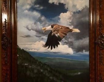 Print Bald Eagle Oil Painting 18x23 inches Vintage