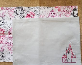 2 cotton fabric Disney Princess Placemats - Belle - Snow White - Jasmine - Ariel - Rapunzel - Cinderella - Castle