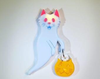 Ghost cat brooch