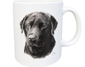 Mug Labrador Retriever-white ceramic coffee mug with black print