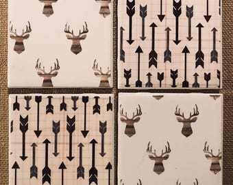 Deer and Arrow Tile Coasters