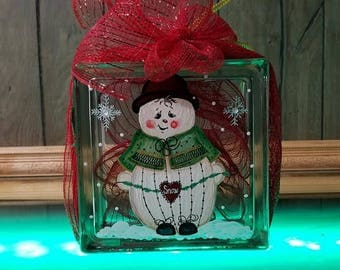 Hand Painted Glass Block Snowman with battery Lights