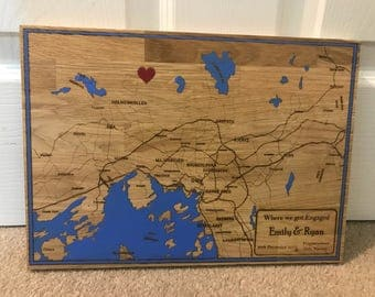 Personalised Engraved Wood Map - Solid Oak! Engagement valentines wedding gift! Hand painted!