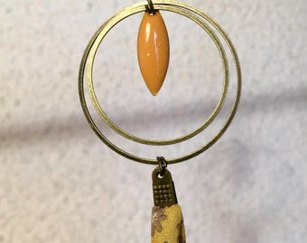 Earrings yellow Pearl resin epoxy and fabric