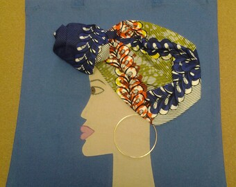 Goddess Tote Bag in blue/blue multi with 3D headwrap
