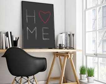 Home Digital Wall Art, Download Print, Black Wall art, Instant download, Printable Art, Heart Wall Decor, Digital Print, Home Print Decor