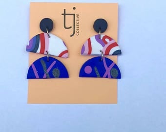 Multi coloured statement earrings