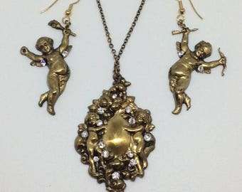 Romantic Gothic Victorian Dancing Cherub Earrings and Pendant Necklace