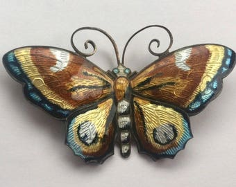 OBO - Vintage Signed David Andersen Sterling Enamel Butterfly Brooch