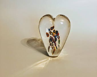 Glass Heart Paperweights