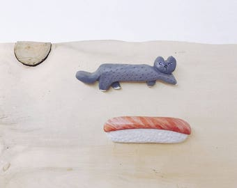 Handcarved Cat n Salmon Nigiri Sushi Brooch Set, recycled wood handmade pin gift set, made in north vancoucer, canada, love nature