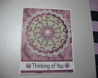 Purple doily thinking of you card