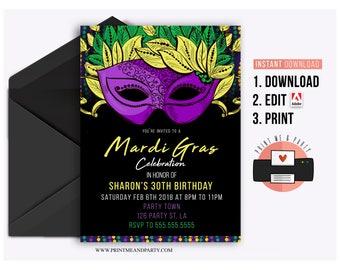 Mardi Gras Invitation, Mardi Gras Party, Mardi Gras party invite, Carnival, Fat Tuesday, Instant Download