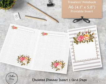 A6 Travelers Notebook, Grid Digital Paper, Planners Printable, Undated Daily Planner, A6 TN Printable Insert, Grid Planner Insert, TN A6