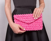 Envelope Clutch Bag // pink rose lace fabric // perfect evening out bag // magnetic clasp fastening