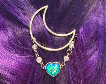 Mermaid Moon Hairclip Silver-Moonchild-mermaid scales-Mermaid heart-Crescent hair clip for women-Mermaidhair
