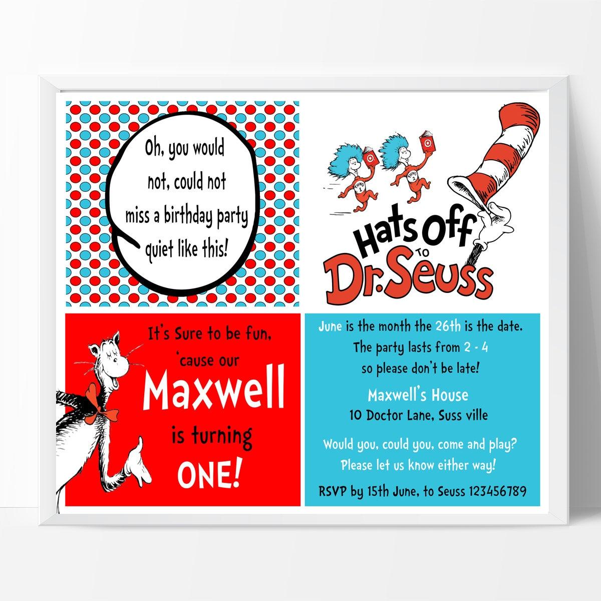 Seuss Birthday Invitation, 1st Birthday, Thank you Note Personalised ...