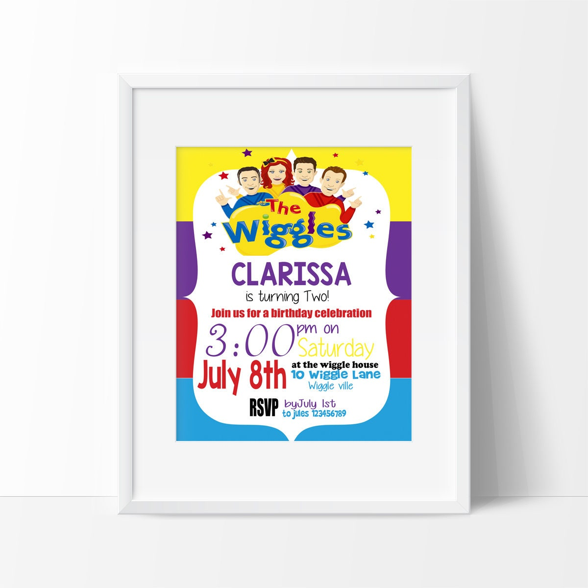 Wiggles Birthday Invitation 1st Birthday Note Personalised and