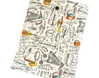 Fabric Book Sleeve Musical Instruments - Two Sizes: Large And Small - A Unique Book Cover For Yourself Or Book Lover Gift!