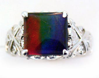 Square Canadian Ammolite Ring set in 14k White Gold