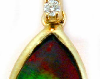 14K Yellow Gold Canadian Ammolite Pendant with Diamond