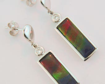 Bar Shaped 14K White Gold Dangling Earrings with Canadian Ammolite and Diamonds.